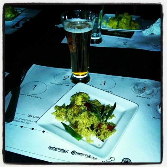 Coconut curry seafood baked rice paired with Odin's Sigrun IPA