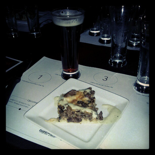 Beef and blue cheese house made pizza paired with Odin's Gift Nordic Amber Ale