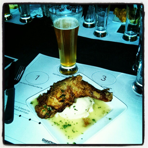 Buttermilk fried chicken with garlic mash paired with Odin Viking Gold Extra Pale Ale
