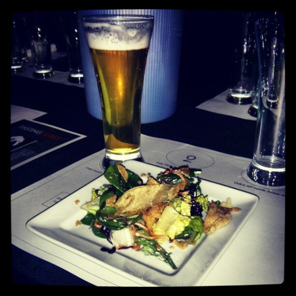 Asian chopped salad paired with Odin's Freya's Gold Kolsch style ale