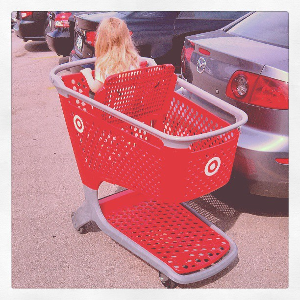 Hayley in her luxuriously wide shopping cart