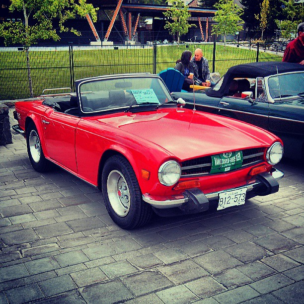 A Triumph TR6 from the British car show in the Village