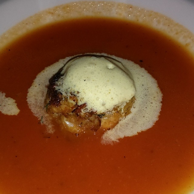 Crab and Roast Pepper Bisque.