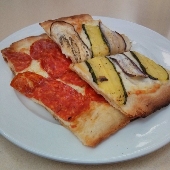 Sopressata slice and zucchini with eggplant.