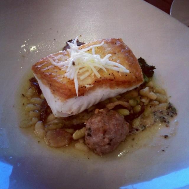 Pacific Halibut with oregon shrimp and pork dumpling, porchetta, parsley root, english pea broth, flageolet beans