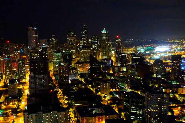 Downtown Seattle, the was a Mariners game going on hence the SUPER bright lights to the right