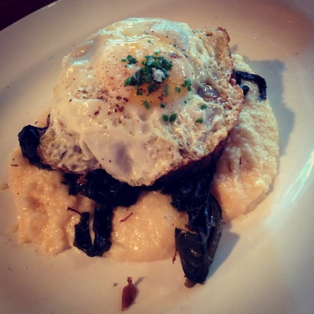 Fried chicken* Bacon mousse chicken roulade, cheesy grits, collard greens, sunny-side up egg