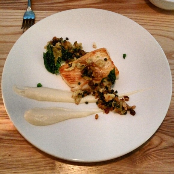 Pan roasted halibut, cauliflower puree, pine nut raisin agrodulce
