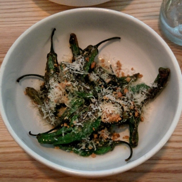 Shishito peppers with parmesan and pine nuts