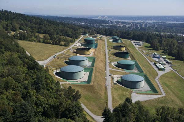 Oil storage tanks on Burnaby Mountain. Photo - Vancouver Sun