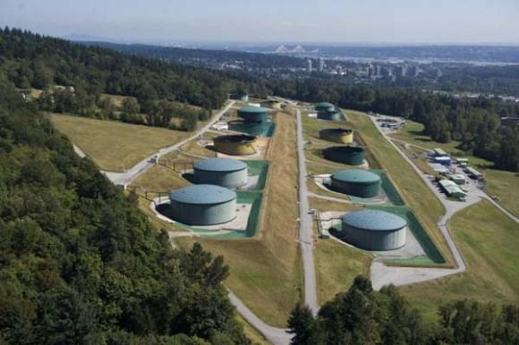 Oil storage tanks on Burnaby Mountain. Photo - Vancouver Sun