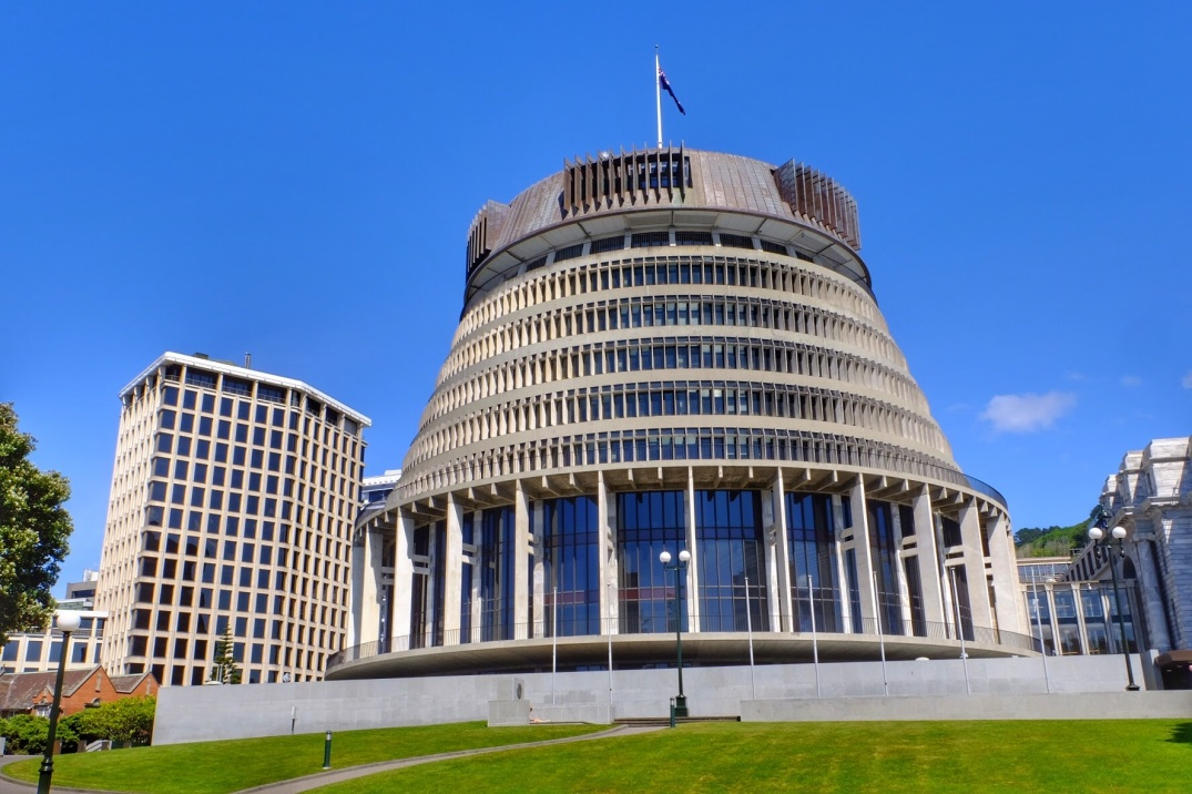 The Beehive, aka the New Zealand Parliament.